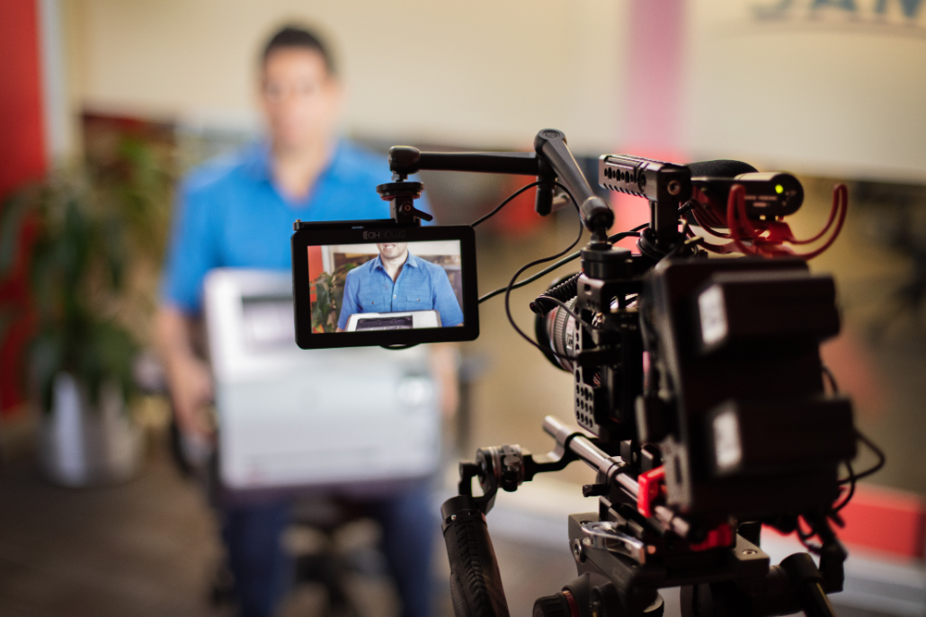 Filming a video production in Phoenix