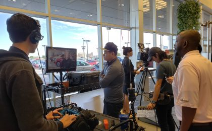 Behind the scenes of our phoenix video production shoot for Corporate video communications with a Nissan dealership.